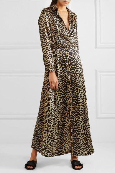e7d302c12df GANNI - Dufort Leopard-print Silk-blend Satin Maxi Dress - Leopard print
