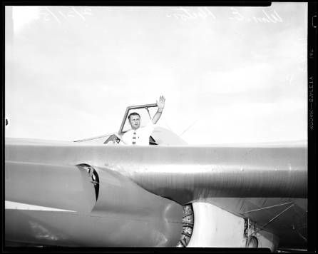 Wingless aircraft (Horton Wingless Airplane), 1954 :: Los Angeles Examiner Collection, 1920-1961