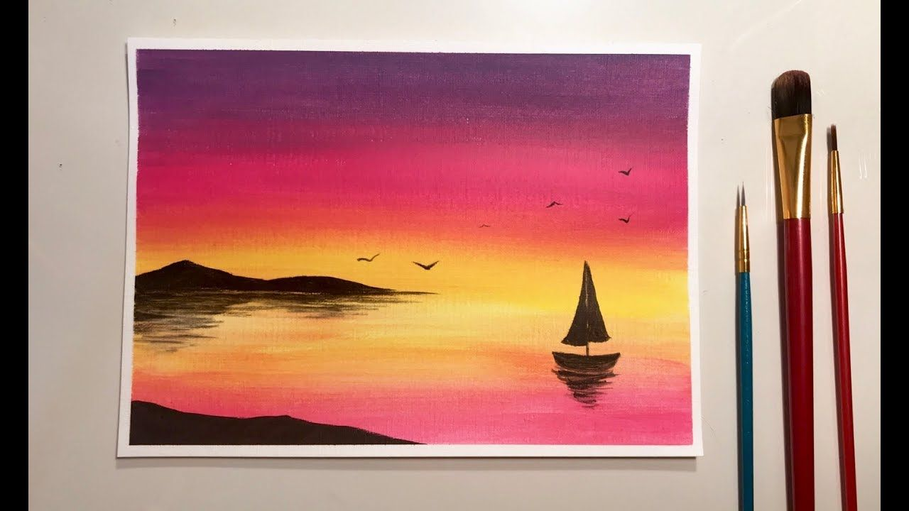 Simple Acrylic Sunset For Beginners Sunset Painting Sunset