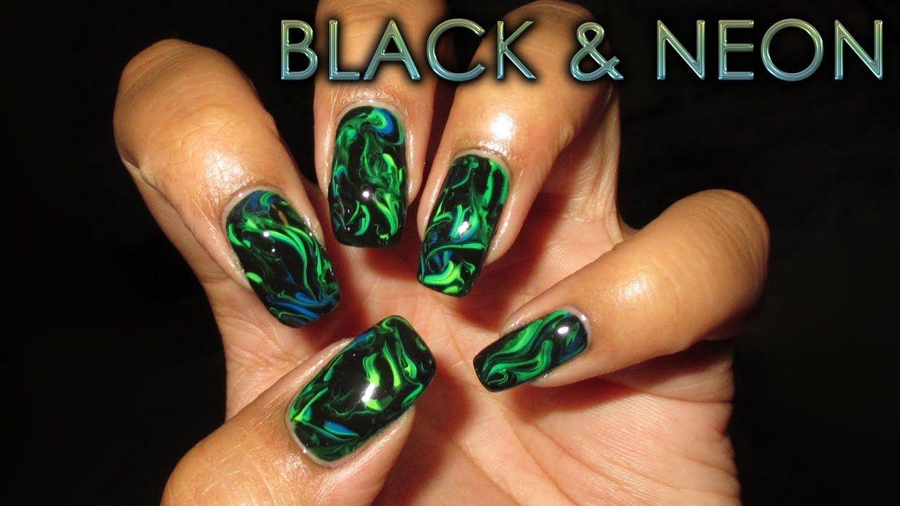 Black & Neon Marble | DIY Nail Art Tutorial - YouTube | Nail Art ...