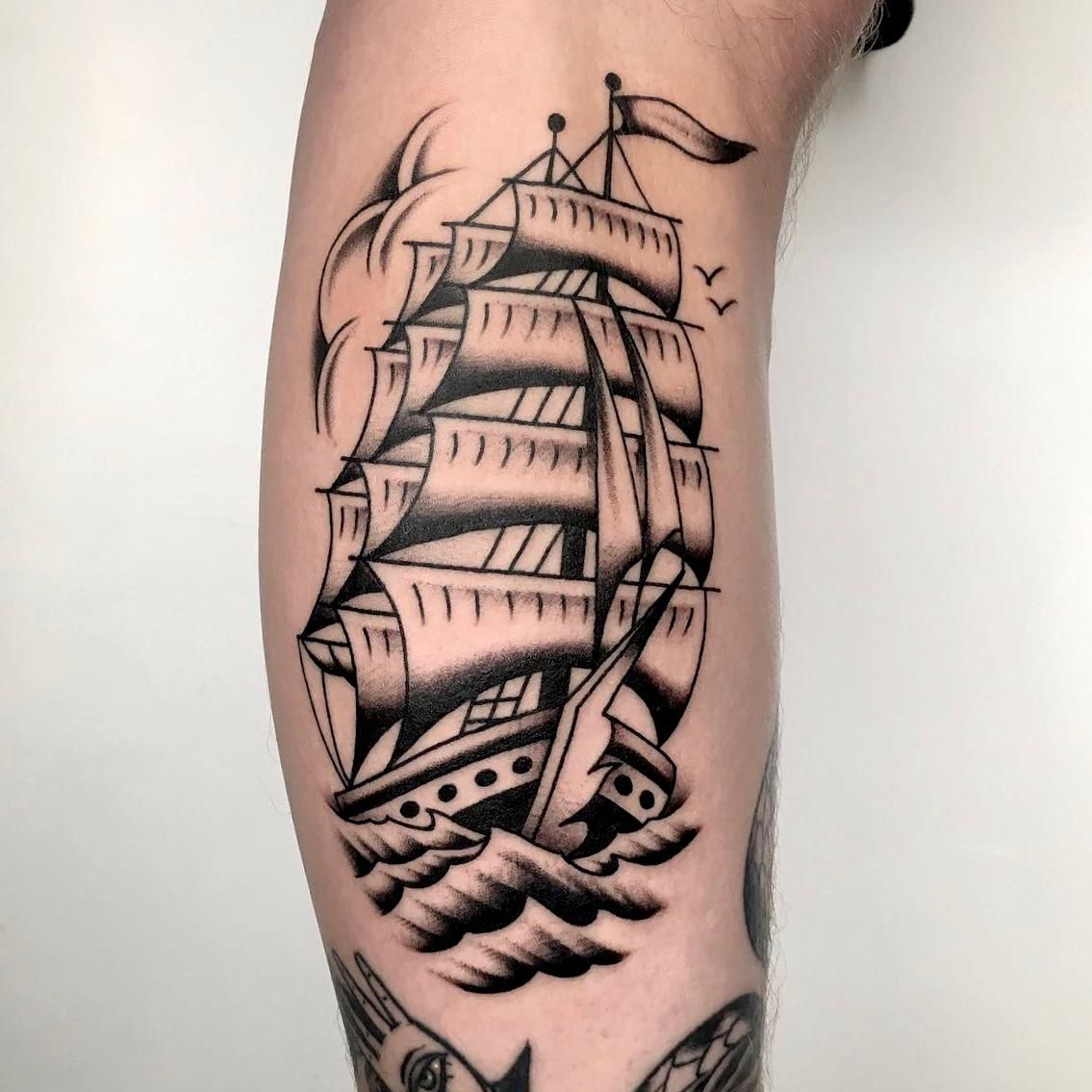 Classic old school clipper ship by best tattoo artist in