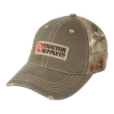 ae204505a9d Tractor Supply Co. Logo Cotton/Mesh distressed hat, Olive and Camo ...