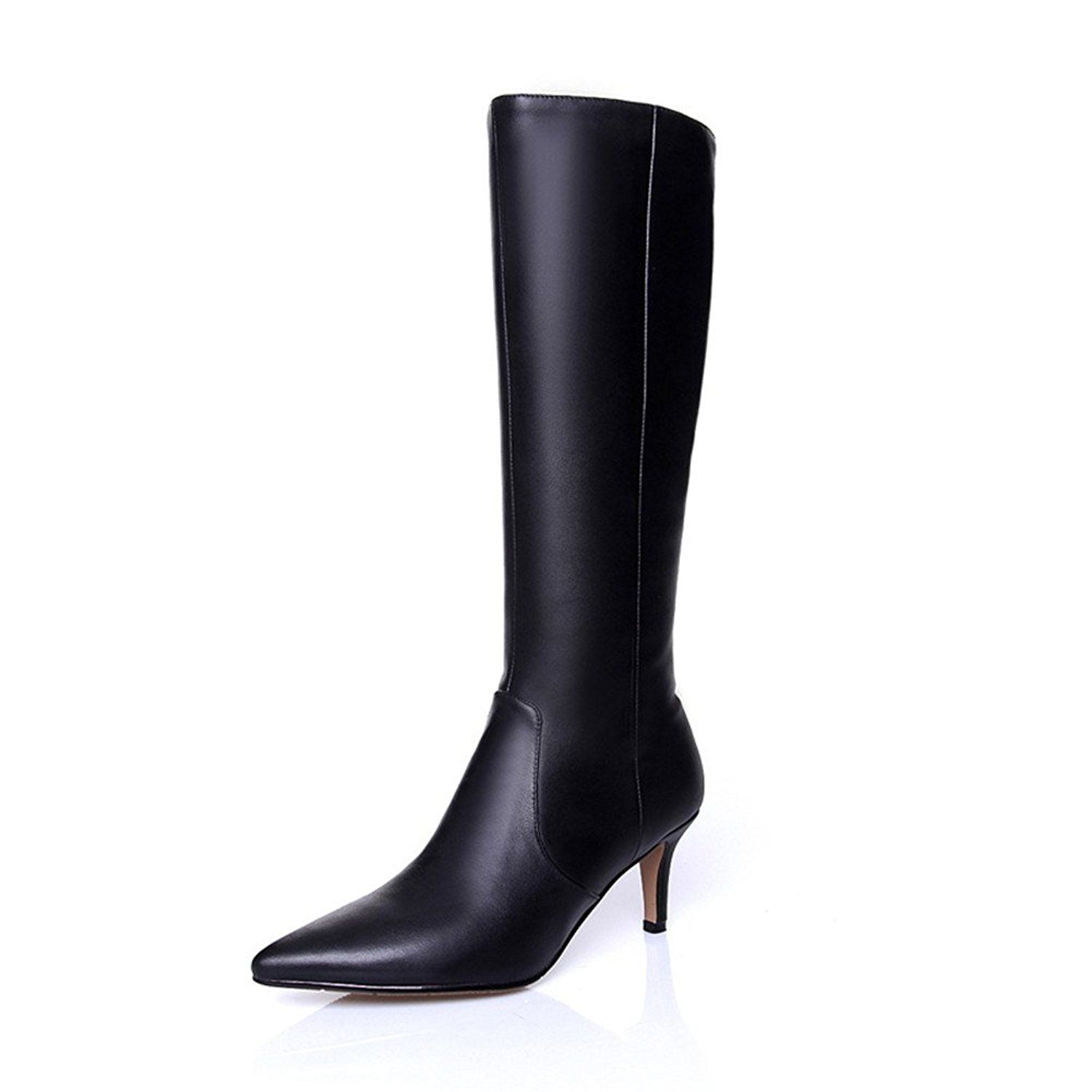 Nine Seven Genuine Leather Womens Pointed Toe Kitten Handmade Knee High Boot With Back Zip Remarkable Product Available N Boots Genuine Leather Boots Heels
