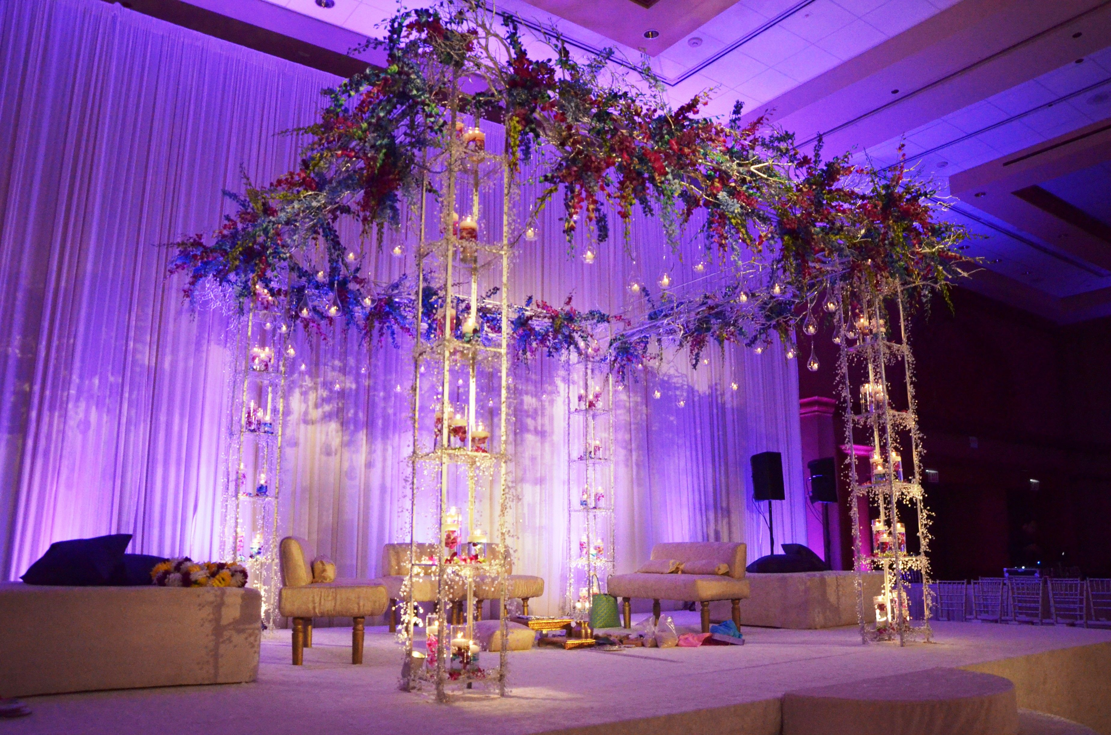 Large Grand Mandap Design With Hanging Orchids And Light Purple Room Coloring Ceremony
