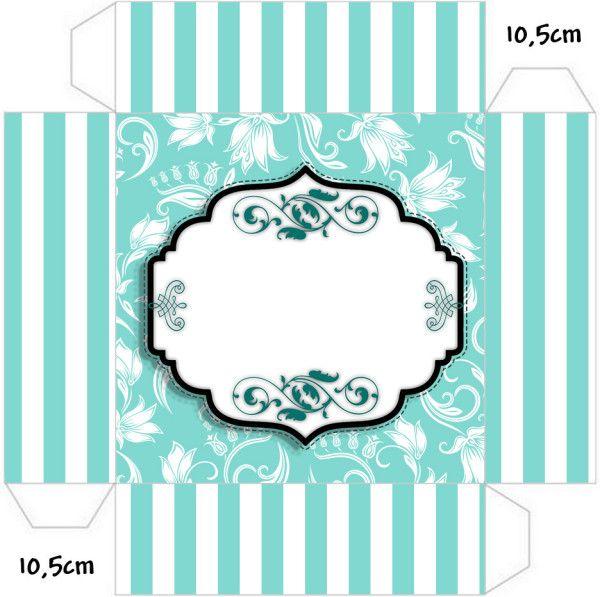 Kit Completo Azul Tiffany Floral e Listras!   Azul   Crafty e Ideas ea03fa8ee5