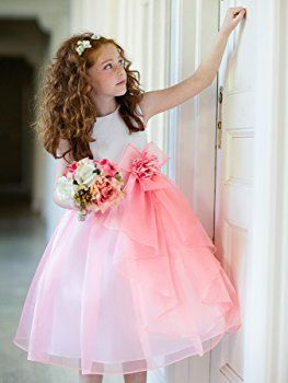 Girls KID Collection Layered Organza Ruffle Skirt Holiday Christmas Party Flower Girl Dress, Coral, 2