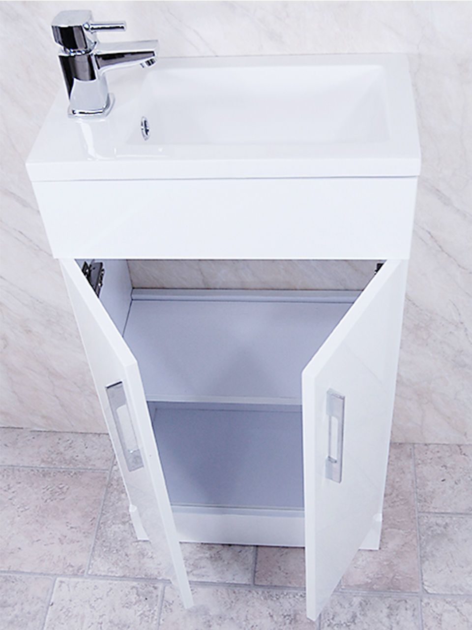 White Square Basin Vanity Unit Bathroom Compact Cloakroom Furniture ...