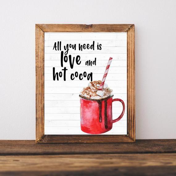 Hot Cocoa Bar Sign, Holiday Decor, Christmas Sign, Hot Chocolate Bar Printable Sign, Christmas Wall #hotchocolatebar