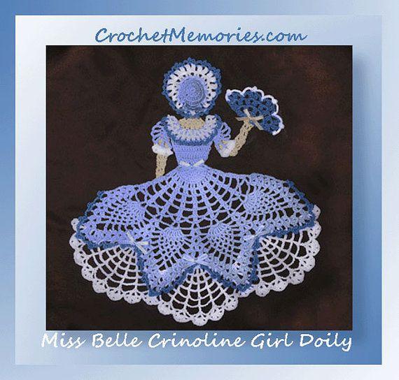 0655 Miss Belle crinolina chica tapete de ganchillo patrón | dama ...
