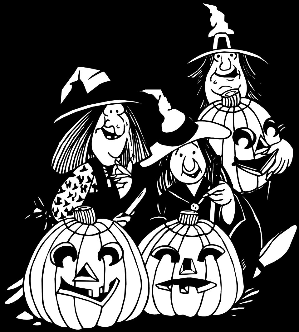 45+ Black And White Witch Clipart