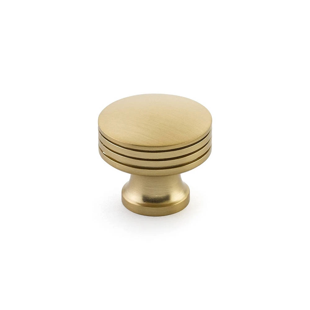 "Brass cabinet knob can be used on kitchen cabinets or as a brass drawer pull. DescriptionContemporary brass cabinet handle for those with a modern but classic taste. This is an elegant and modern style. Comes with screws for mounting.Collection: ""Menlo Park""Dimensions• Base Diameter: 3/4 inches• Diameter: 1-1/4 inches•"