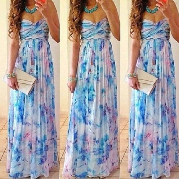Evening dress long strapless summer