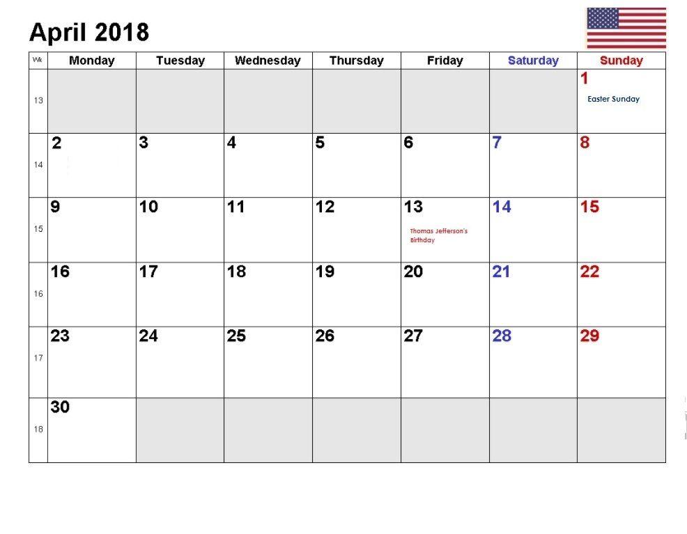 Usa April 2018 Holidays Calendar 2018 Holiday Calendar Holiday