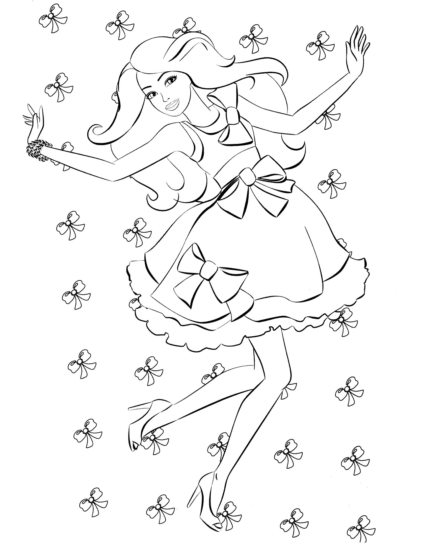 content themes coloring pages barbie