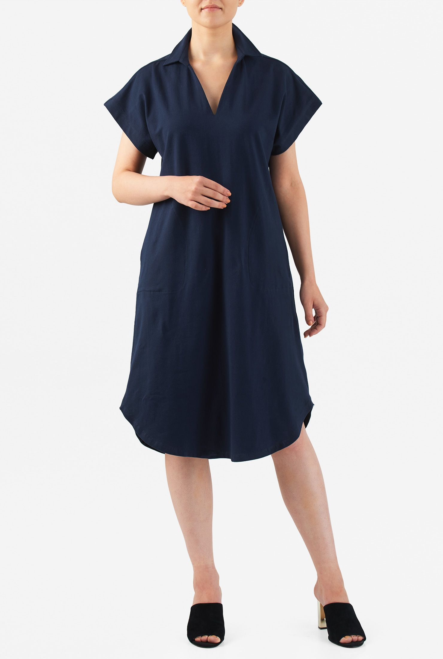 9c29dd9b0bf ... summer dresses for women. Drop shoulders top our cotton knit shift dress  in a billowy cut and a shirttail hemline.