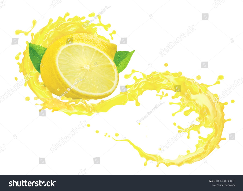 Fresh Ripe Lemon Fruit Slice Lemon Juice Or Lemonade 3d Splash Swirl Juice Splashing Lemon Juice Label Liq Fruit Design Is Almond Milk Healthy Citrus Fruit