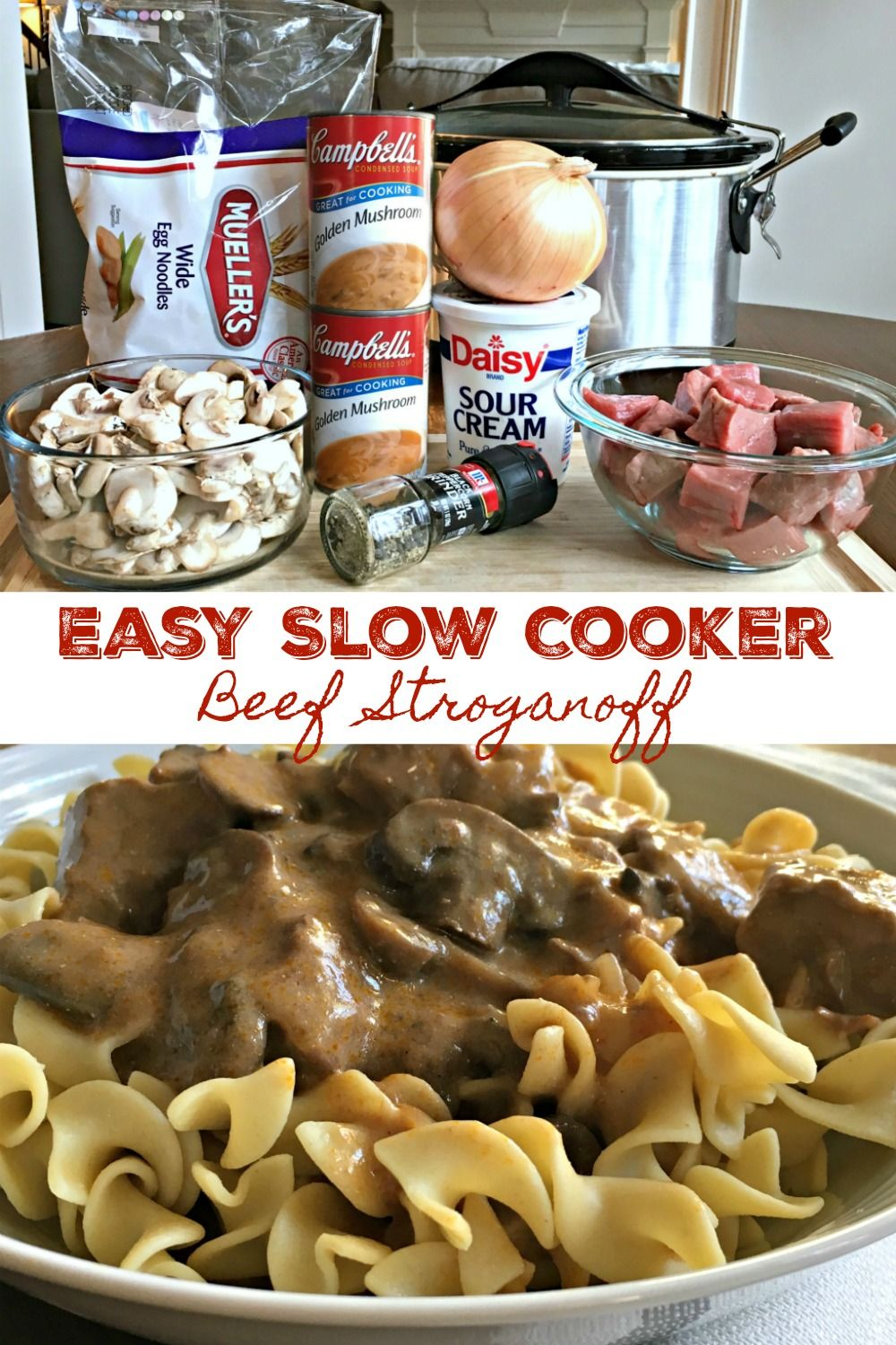 EASY SLOW COOKER BEEF STROGANOFF - Family favorite go-to cold weather meals is made even easier with this fantastic slow cooker recipe! Beef stew meat is slow cooked in a rich, creamy mushroom gravy sauce, cooked to tender perfection then served over egg noodles. A hearty, stick-to-your bones, warm you up meal that's always a hit!! #SlowCooker #CrockPot #BeefStroganoff #Beef #Recipe