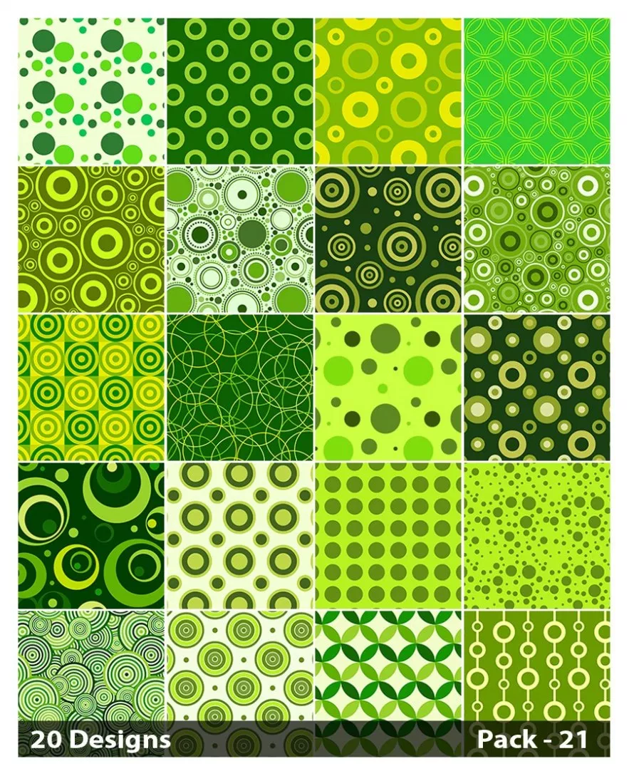 20 Green Circle Background Pattern Vector Pack 21 (With