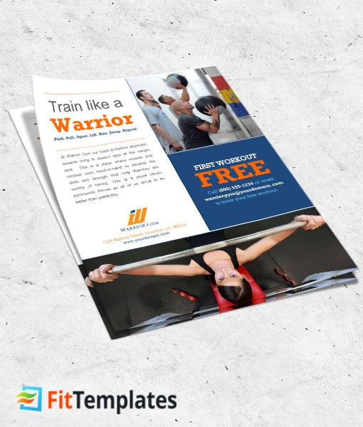 Gym Flyer Template Warrior Gym 1-1 Fitness Flyer Ideas - microsoft templates for flyers