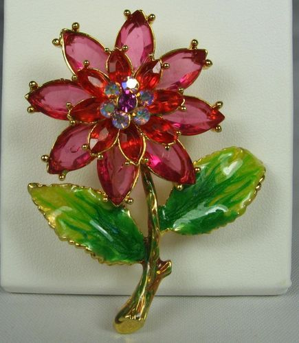 Vintage Red Rhinestone Floral Brooch Pin Enamel Gold Tone Costume Jewelry