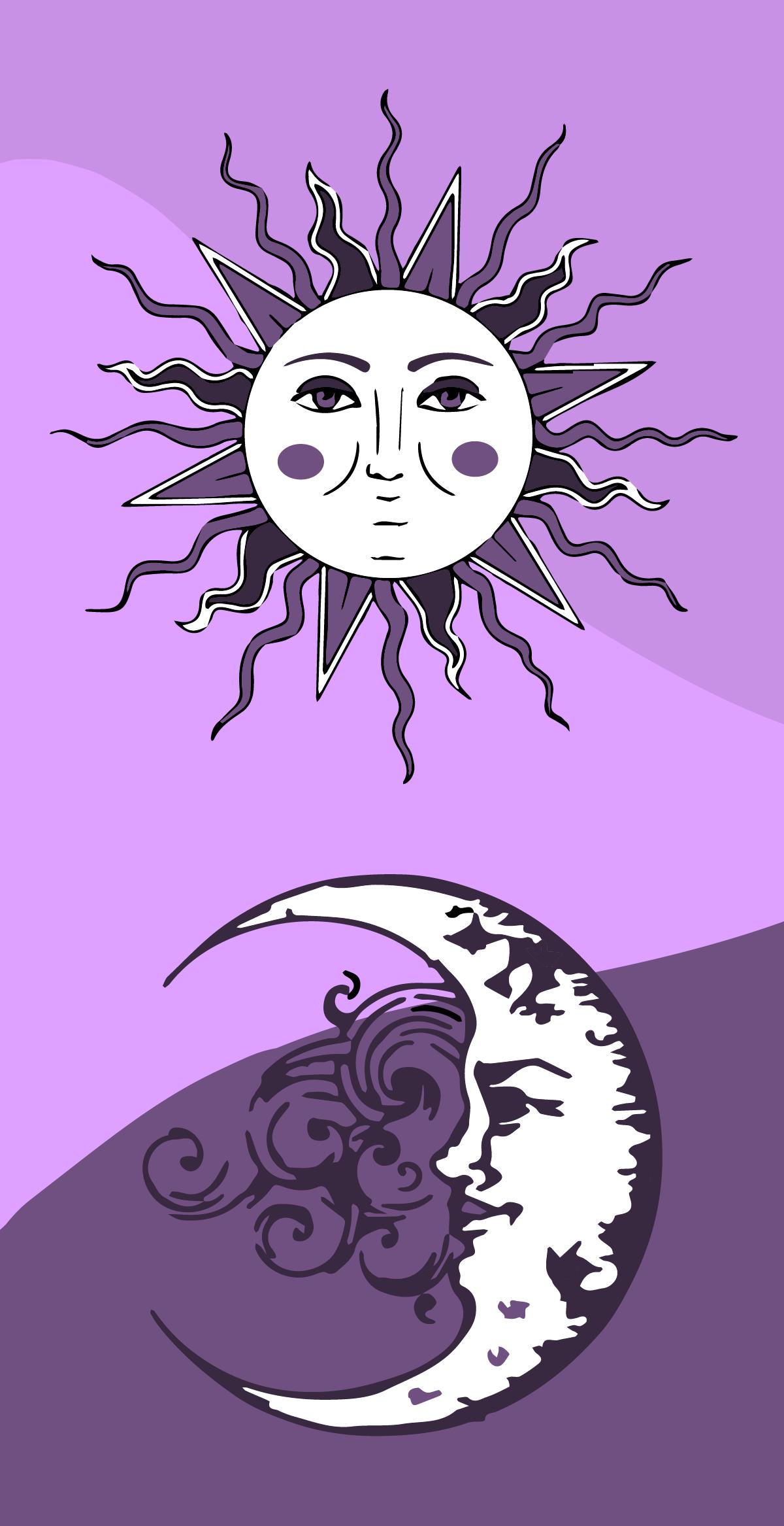 Fond d'écran lune et soleil | Wallpapers roxos, Colagem de ...