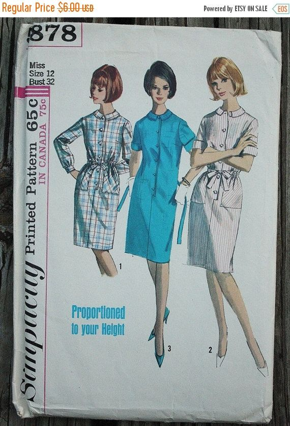 Simplicity 5878 1960s 60s Proportioned Round Collar Shirt Dress ...