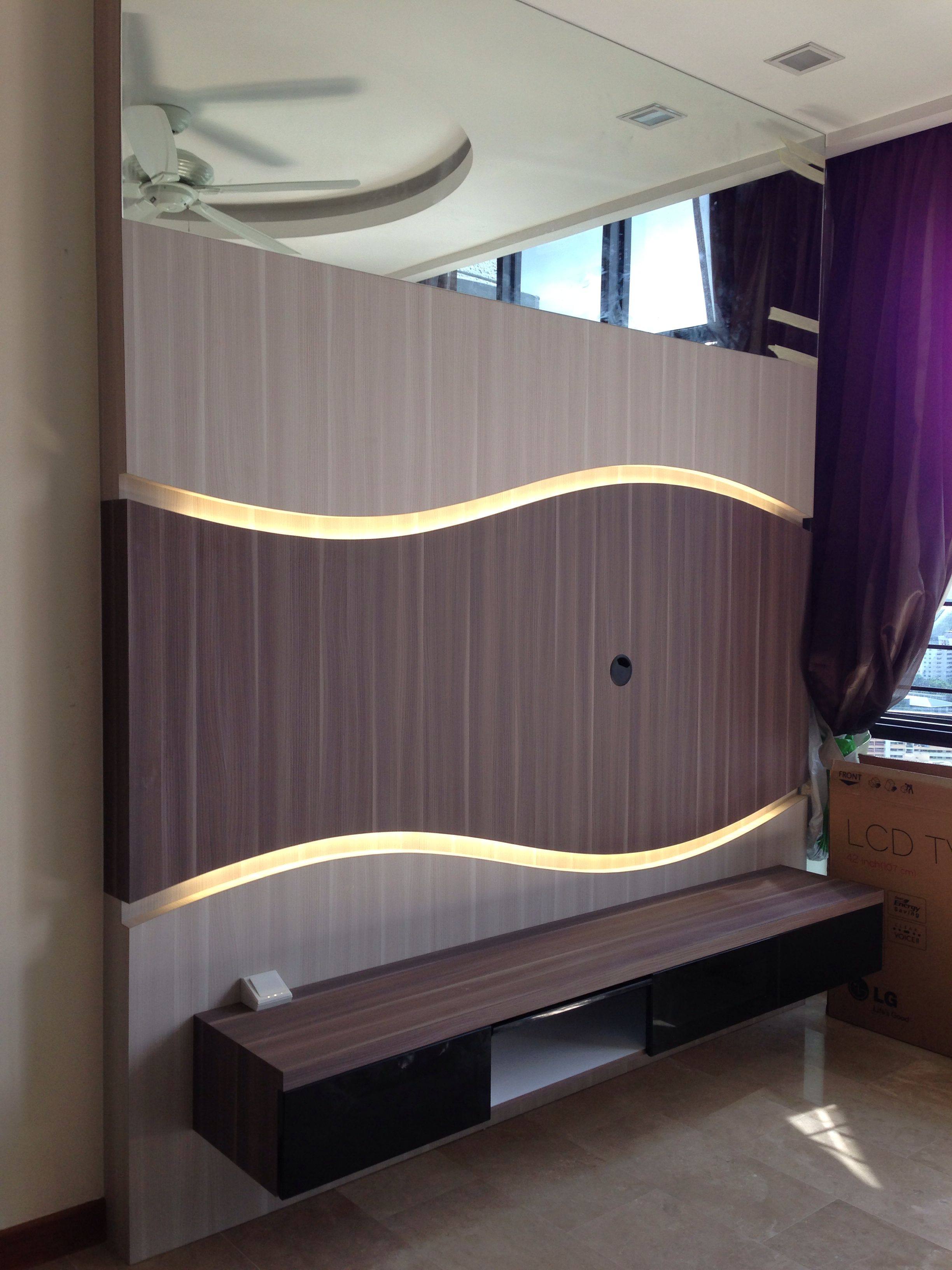 Living Room Feature Wall Design: Tv Feature Wall With Curve Alcove Lights