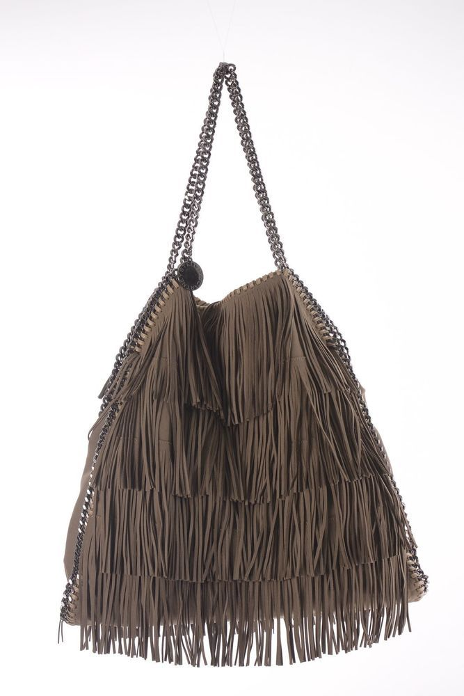 NEW Auth Stella McCartney Taupe Big Falabella Fringe Tote Bag w/ Attached Purse #StellaMcCartney #TotesShoppers