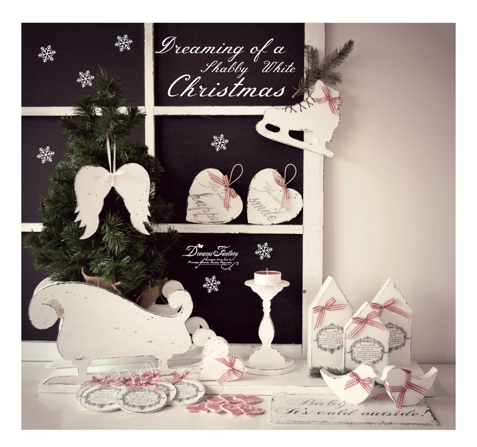 Shabby white handmade christmas decorations decoratiuni handmade