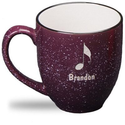 Personalized Plum, 14 oz Speckled Bistro Mugs