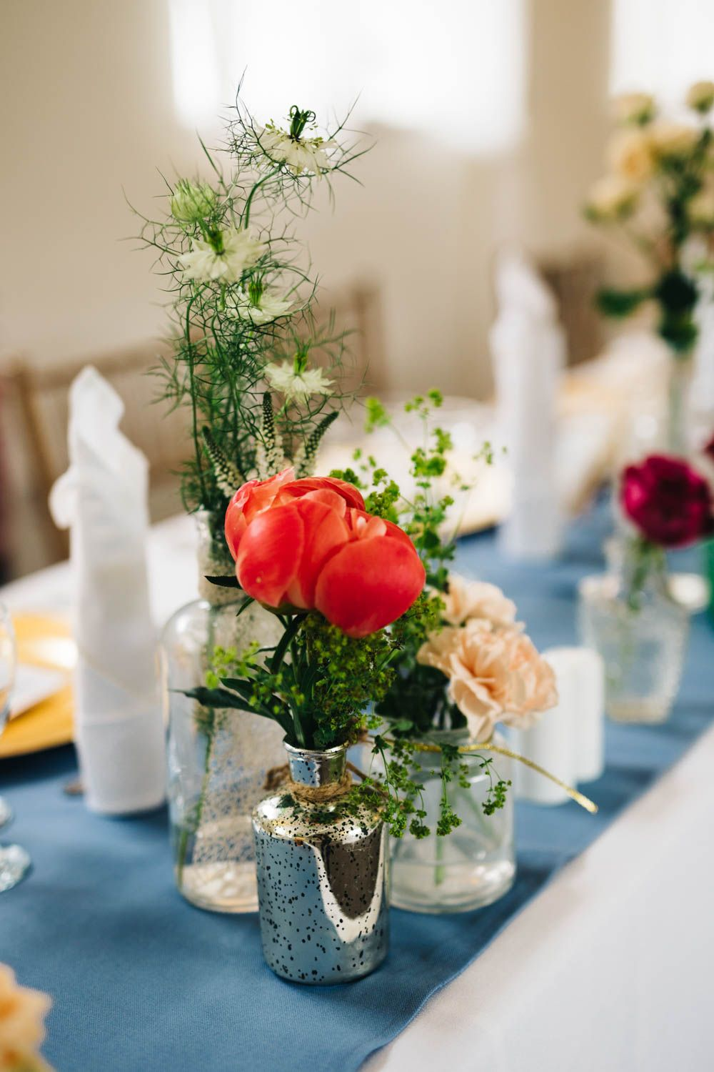 Flowers Stems In Vases Jesús Peiró Bridal Gown Outdoor Wedding Ballyscullion Park Northern