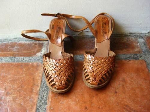 Vintage Boho Leather Tan Wood Wedge