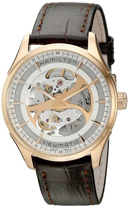 d62555bc10ba Hamilton Men s H42545551 Jazzmaster Analog Display Automatic Self Wind  Brown Watch