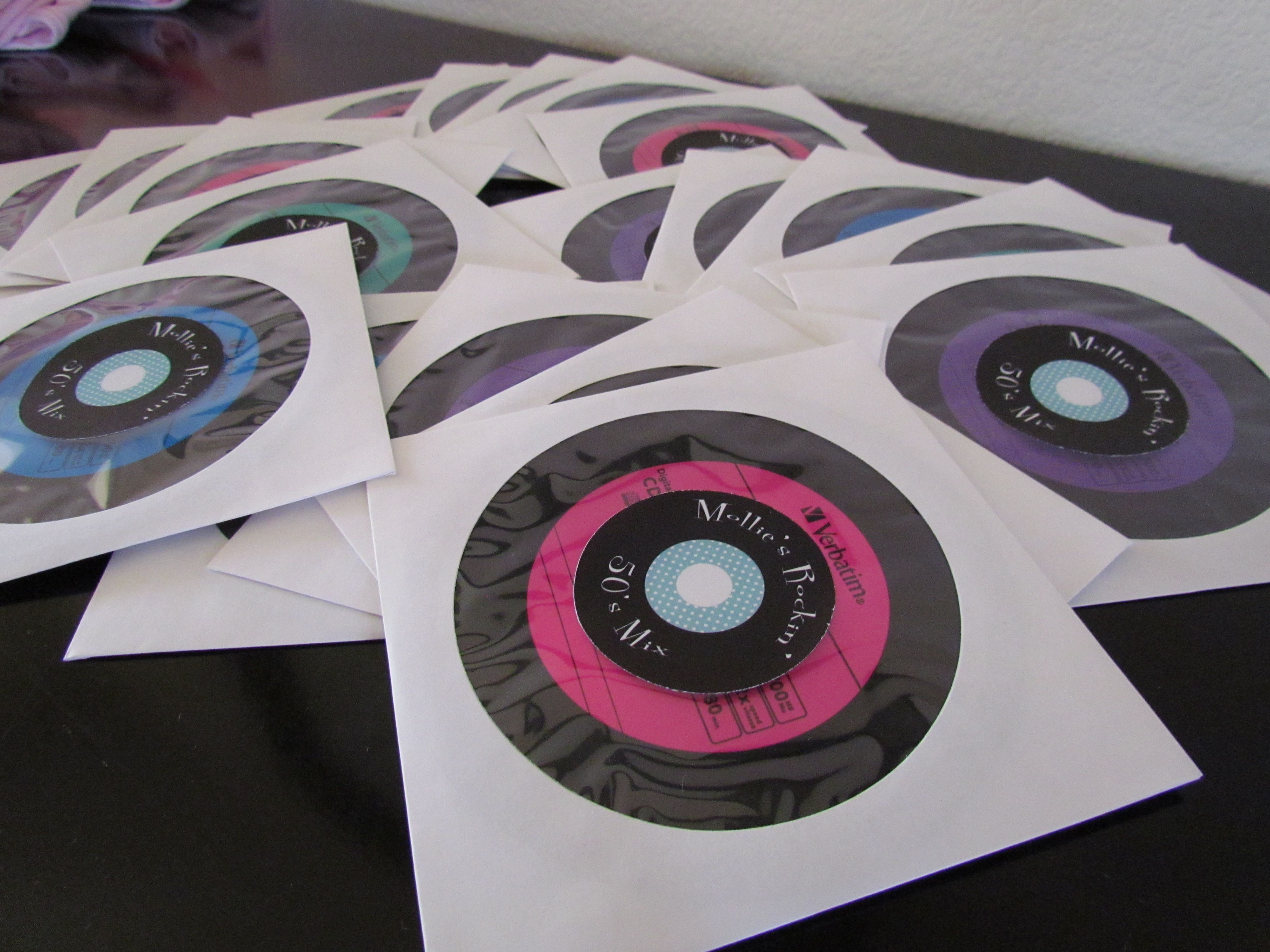 Party Favor Cds That Look Like Records Found On Amazon With A 50s Mix Sleeves And Personalized Labels