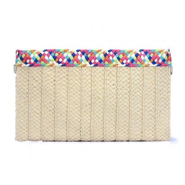 Yoins Woven Straw Clutch Bag in Beige ($14) ❤ liked on Polyvore featuring bags, handbags, clutches, yoins, beige, hand bags, handbags purses, straw shoulder bag, straw purses and purse shoulder bag