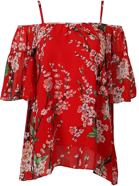 Cr Women S Red Spaghetti Strap Sakura Floral Print Chiffon Blouse Red Ch12lxuegen Floral Print Chiffon Blouse Red Floral Shirt Red Short Sleeve Blouse