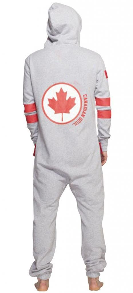 SkylineWears Men s Onesie Playsuit Jumpsuit one Piece non Footed Pajamas  Canadian Flag XXL Gray 9433f9cd1