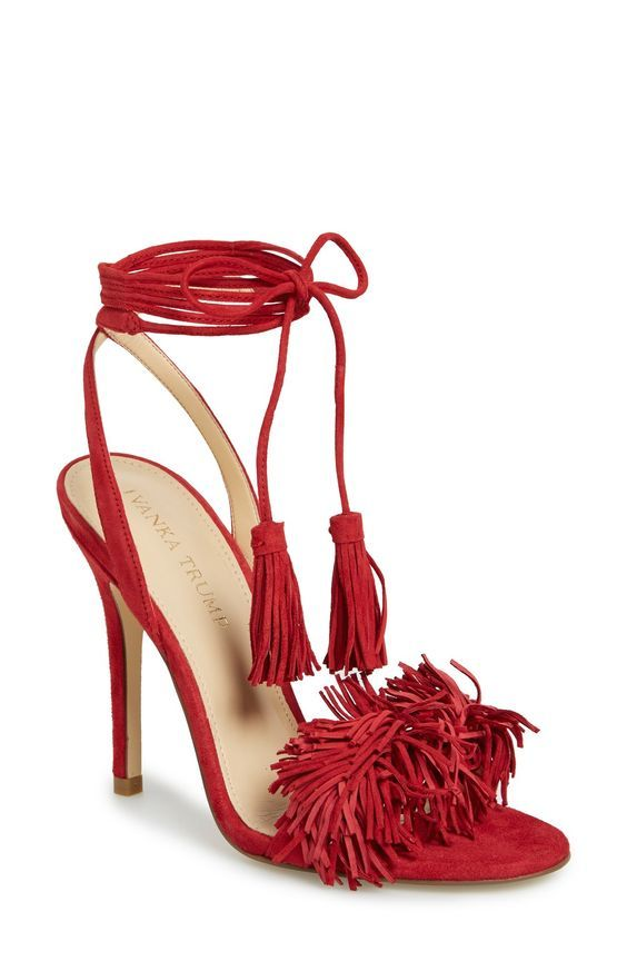 Ivanka Trump high heel shoes   red fringe   tassel sandals. Great look! ee728baaab42