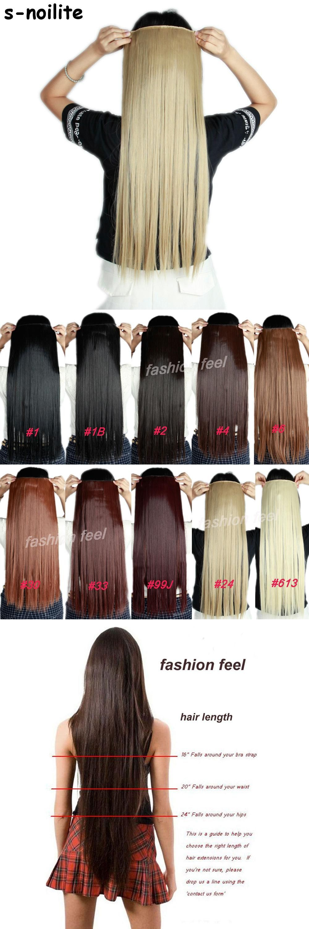 58 76cm Long Women Lady Straight Real Thick 150g 34 Full Head Clip