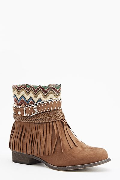 7b6b0c42caa5 Aztec Fringed Flat Boots - Black or Camel - Just £5 | Your styles ...