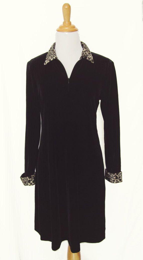 Black Velvet Dress with Leopard Trim Collar  by ShopCheekyCheeky,