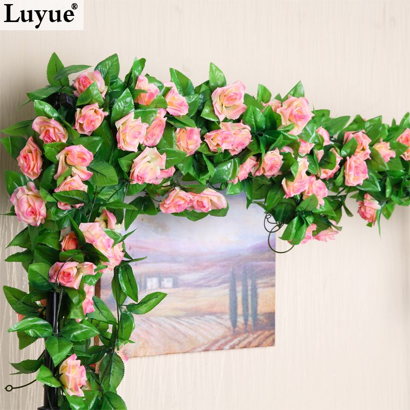 M artificial silk rose fake flower ivy leaf garland plants for Artificial flowers decoration for home