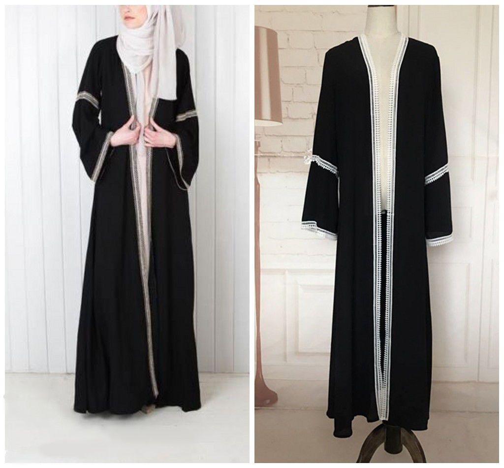 Dubai kaftan black open front abaya jilbab islamic muslim long