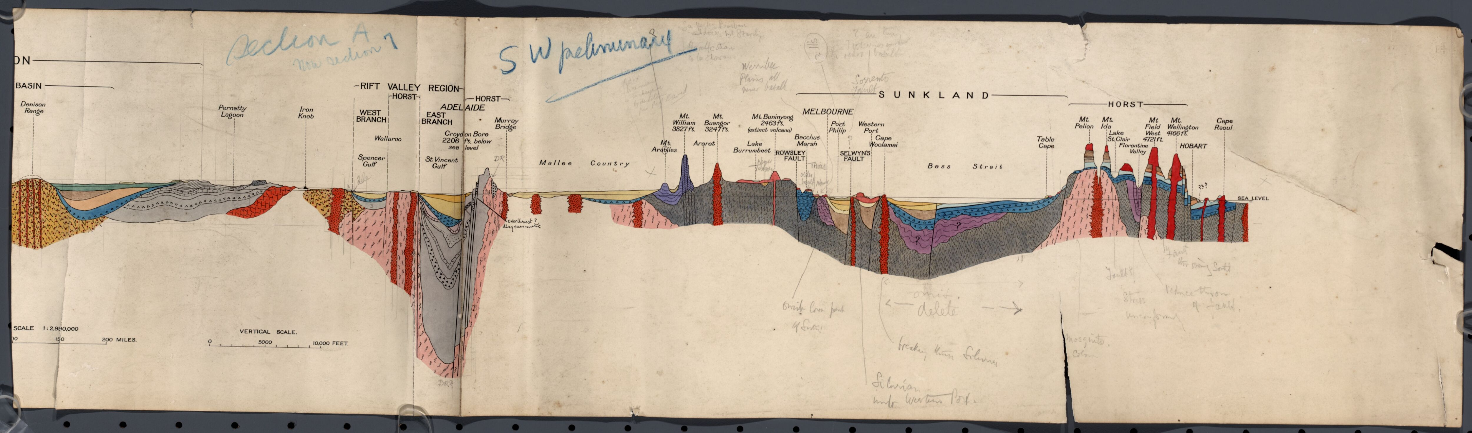 Preliminary plot of North Australia to Tasmania cross section of     Preliminary plot of North Australia to Tasmania cross section of Geological  map of the Commonwealth of Australia  1928 1929