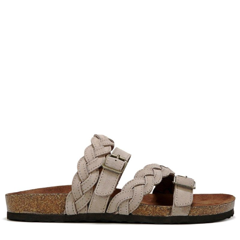 40f73b6528b1 White Mountain Women s Holland Leather Footbed Sandals (Lt Taupe Suede)