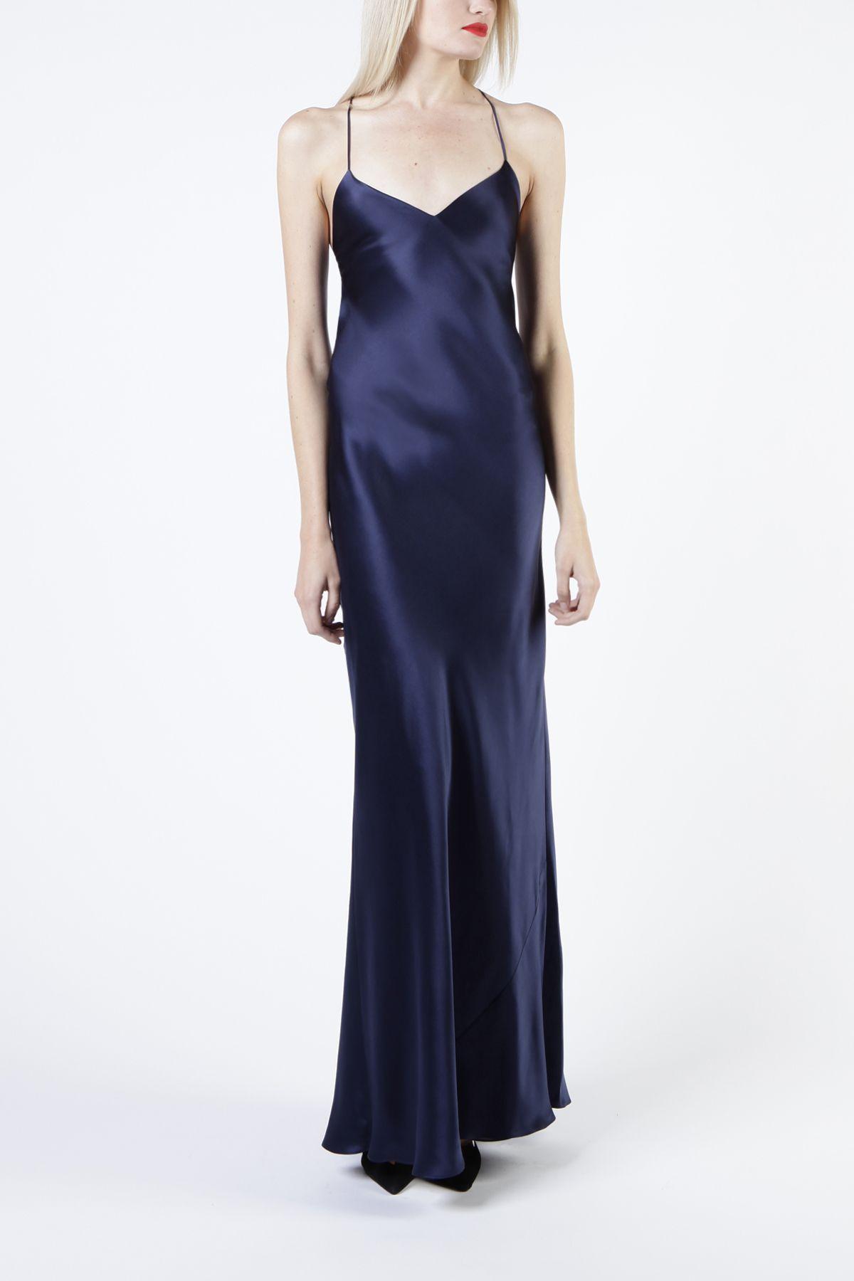 ca39094ae420d bias maxi slip dress - navy | Navy bridesmaid dresses in 2019 | Silk ...