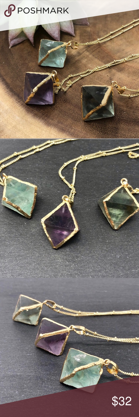 NEW! 🌟Boho Fluorite Crystal Necklace Pretty boho 18k gold
