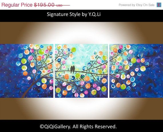 "Original Impasto acrylic Painting Love Birds Tree Painting Canvas Art Romantic Painting Gift for Her ""Evening Chat""by qiqigallery"