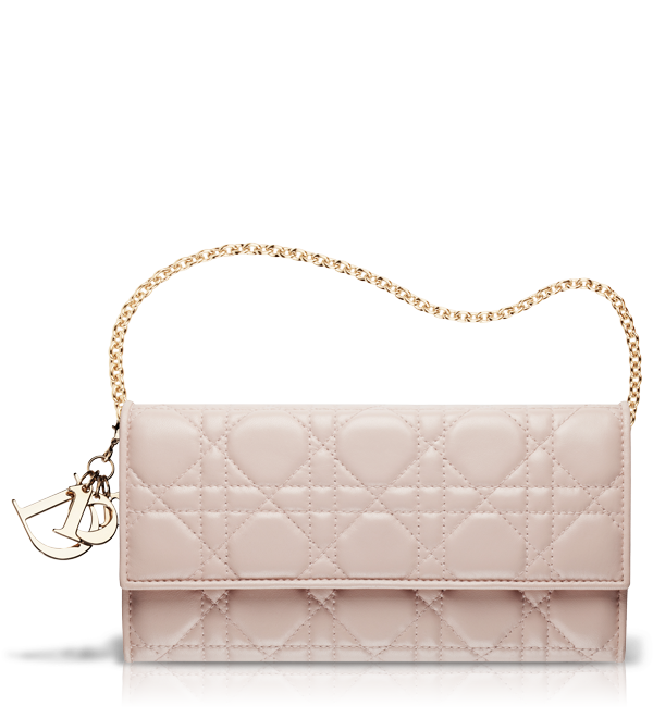LADY DIOR Powder-pink leather  Lady Dior  wallet  001abbba25b7f