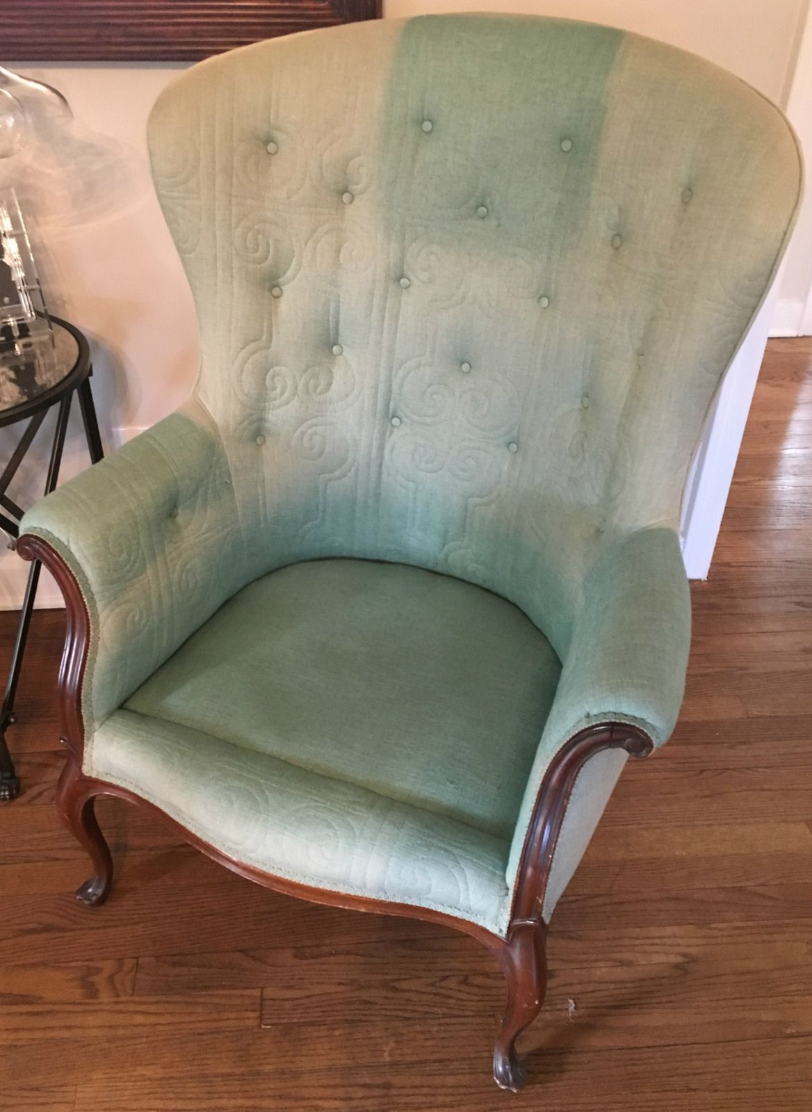 Awe Inspiring Vintage High Back Chair Blue And White In 2019 High Home Remodeling Inspirations Genioncuboardxyz
